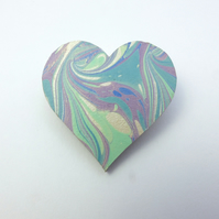 Fun marbled paper heart brooch