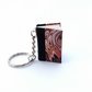 Marbled paper hand sewn book keyring bag charm