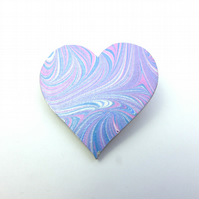 Pretty marbled paper heart brooch