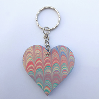 Marbled paper heart keyring bag charm valentine's wedding anniversary gift