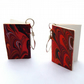 Tiny marbled paper book earrings