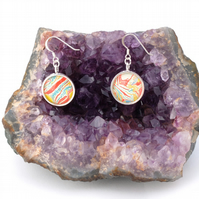 Lovely marbled paper glass cabochon earrings valentine's, anniversary gift