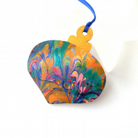 Hand marbled paper Christmas bauble hanging decoration