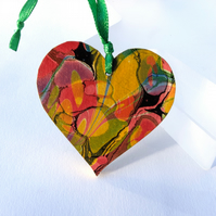 Marbled paper heart hanging decoration valentine's wedding anniversary gift