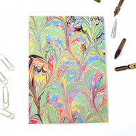 Marbled paper art greetings card frog foot pattern