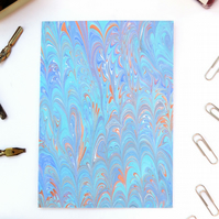 Marbled paper art greetings card blank inside