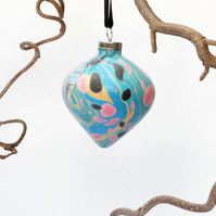 Unusual marbled ceramic Christmas bauble decoration ooak