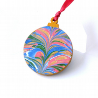 Marbled paper wood Christmas bauble hanging decoration
