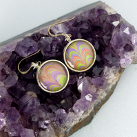 Beautiful marbled paper glass cabochon earrings mother's day anniversary gift