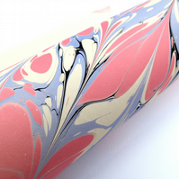 A4 Marbled paper sheet feather pattern red blue