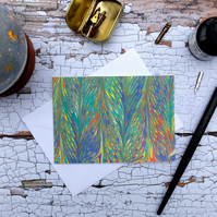 Multicoloured marbled paper art greetings note card