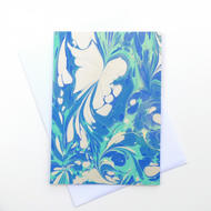 Pretty and unusual marbled paper art greetings card