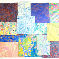 Marbled paper mixed paper pack off cuts scrapbooking free UK postage