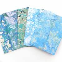 Mixed pack of 5 printed marbled paper cards green and blue