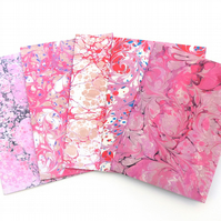 Mixed pack of 5 printed marbled paper cards