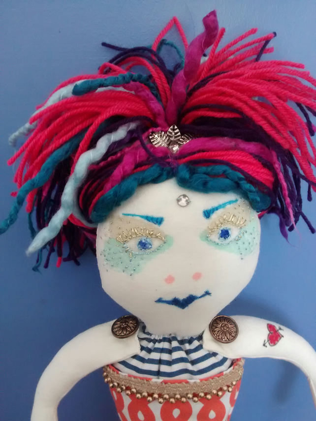 Handmade Upcycled Circus Acrobat Rag Doll One Of A Kind