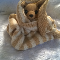 Hand knitted striped  small pet bkanket