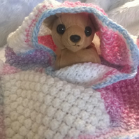 Hand knitted white and varian pink square pet blanket