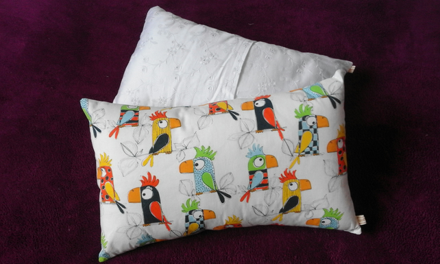 Colourful parrots envelope sofa scatter throw cushion