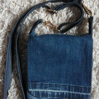 Upcycled Recycled Lined Denim Jeans Shoulder Cross Body Messenger Bag