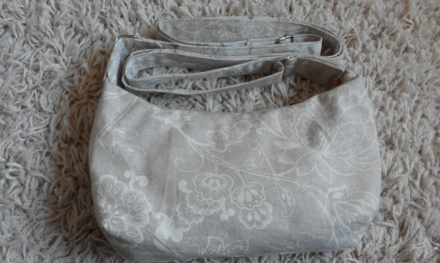 Cream White Floral Print Lined Slouch Bag Shoulder Bag