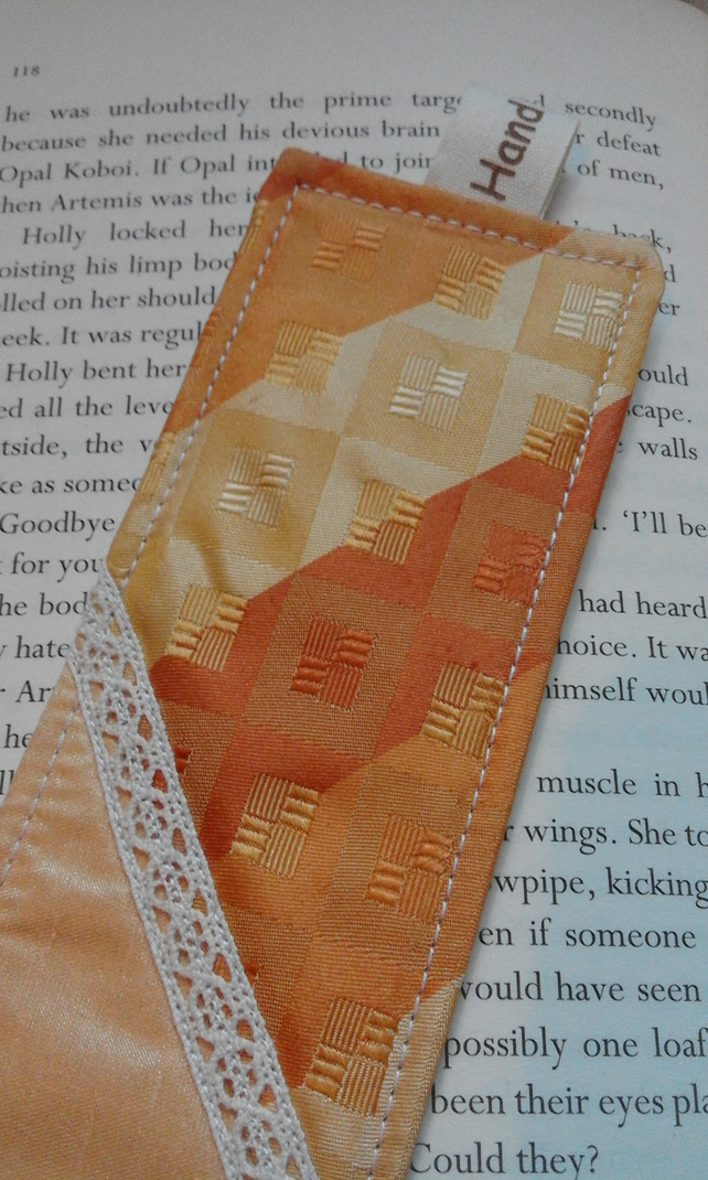 Upcycled Recycled yellow tie necktie faux silk fabric bookmark