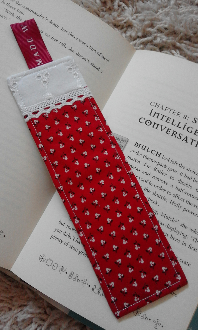 Red Floral Print Feminine Cotton Fabric Bookmark