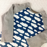 Long sleeve T-Shirt blue and grey with clouds age 7-8