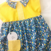Blue and yellow bright floral collared tunic top age 6