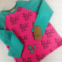 Long sleeve t-shirt with birds, pink and aqua age 6-7