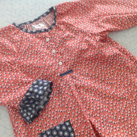 coral, navy and white cotton floaty blouse age 8 years