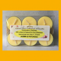 Intense Floral Fragrance of Jasmin & Patchouli Soy Tea Lights