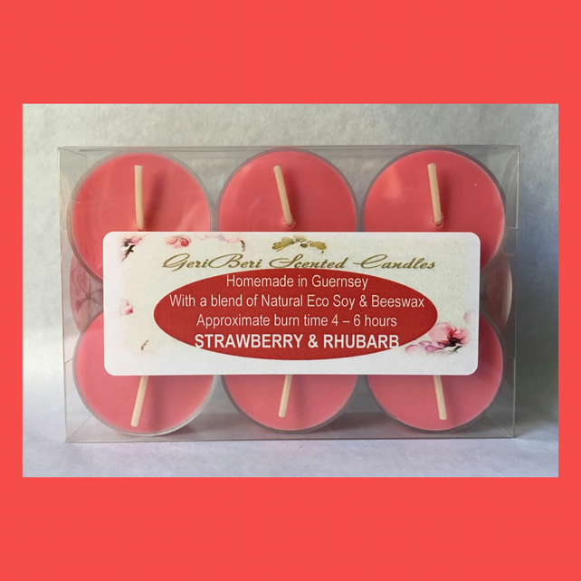 Perfect Fruity Fragrance of Strawberry & Rhubarb Soy Tea Lights
