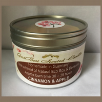 Aromatic Spiced Fragrance of Cinnamon & Apple Large Soy Candle Tin