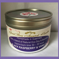 Decadent Fruity Fragrance of Black Raspberry & Vanilla Large Soy Candle Tin