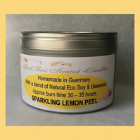 Refreshing Fragrance of Sparkling Lemon Peel Large Soy Candle Tin