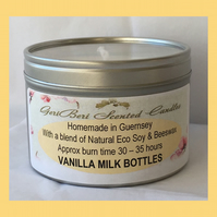 Sweet Botanic Fruity Fragrance of Vanilla Milk Bottles Large Soy Candle Tin