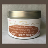 Sweetist Fragrance of Sticky Toffee Pudding Large Soy Candle Tin
