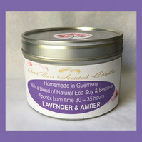Aromatic Floral Fragrance of Lavender & Amber Large Soy Candle Tin