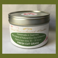 Sparkling Fragrance of Fresh Cut Grass Large Soy Candle Tin