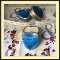 Personalised Scented Candle Wedding Favours - Multiples of Ten (Blue)
