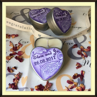 Personalised Scented Soy Candle Wedding Favours - Multiples of Ten - Lilac