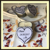 Personalised Scented Soy Candle Wedding Favours - Multiples of 10 - Silver Heart