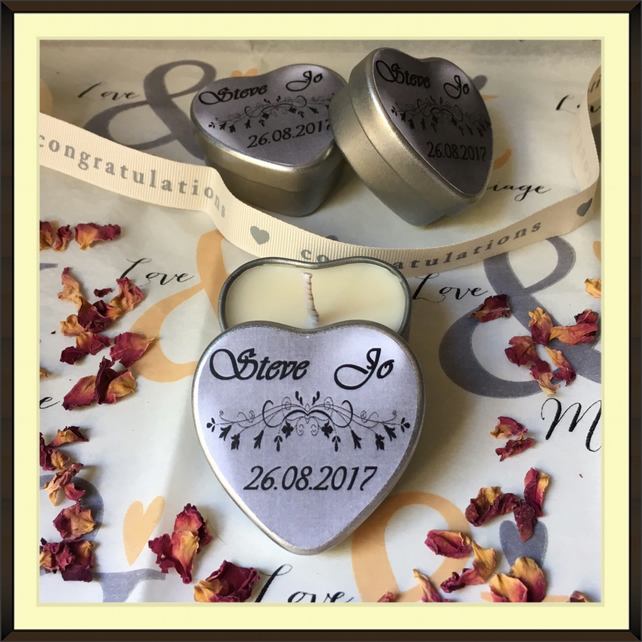 Personalised Scented Soy Candle Wedding Favours - Multiples of Ten - Silver