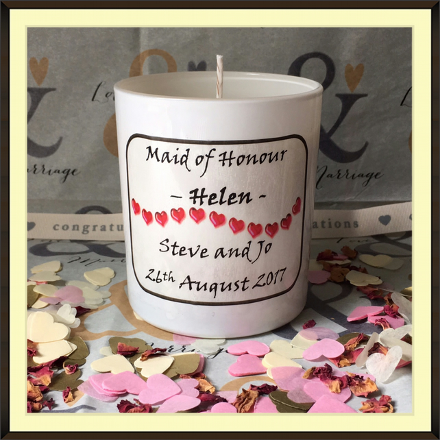 Personalised Maid of Honour Scented Soy Wedding Candle