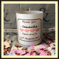 Personalised Flower Girl Scented Soy Wedding Candle