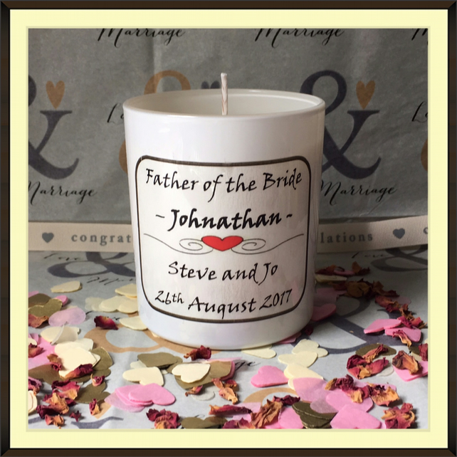 Personalised Father of the Bride Scented Soy Wedding Candle