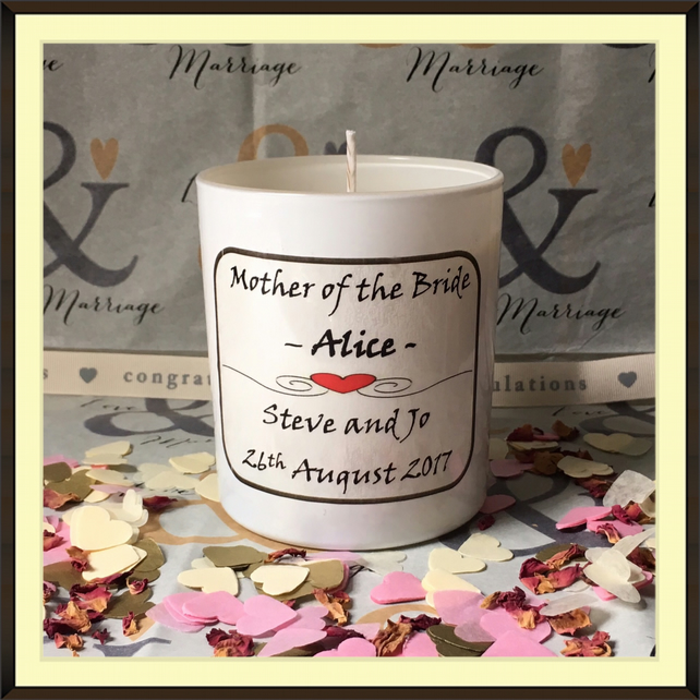 Personalised Mother of the Bride Scented Soy Wedding Candle