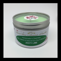 Large Zesty Lime Scented Soy Candle Tin - Free UK Postage