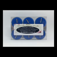 Blueberry & Vanilla Soy Tea Lights - Free UK Shipping